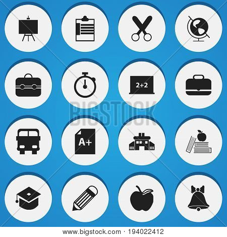 Set Of 16 Editable Knowledge Icons. Includes Symbols Such As Jingle, Writing Board, Page And More. Can Be Used For Web, Mobile, UI And Infographic Design.