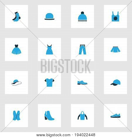 Dress Colorful Icons Set. Collection Of Skirt, Sweatshirt, Panama And Other Elements. Also Includes Symbols Such As Breeches, Ski, Shirt.