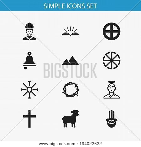 Set Of 12 Editable Religion Icons. Includes Symbols Such As Solar Emblem, Eye On Hand , Christ Wreath. Can Be Used For Web, Mobile, UI And Infographic Design.