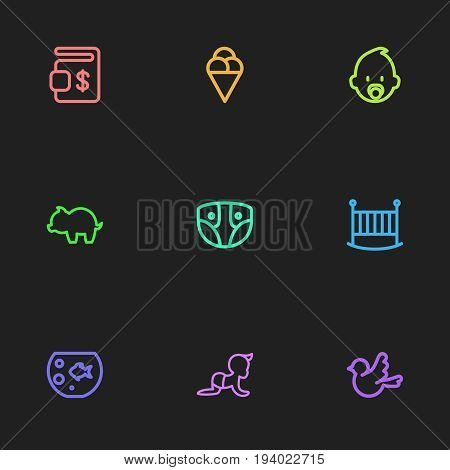 Set Of 9 Editable Folks Icons. Includes Symbols Such As Fish Tank, Bedstead, Nappy And More. Can Be Used For Web, Mobile, UI And Infographic Design.