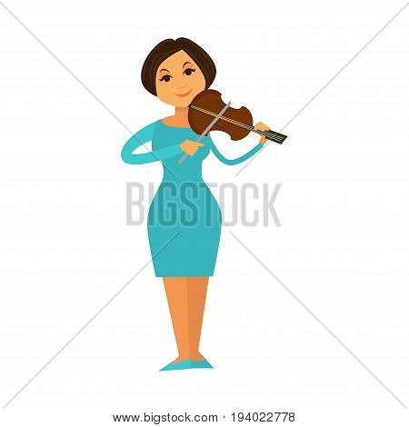Orchestra or jazz band woman playing violin fiddle on stage. Vector flat isolated icon of philharmonic music concert performer or singer in dress