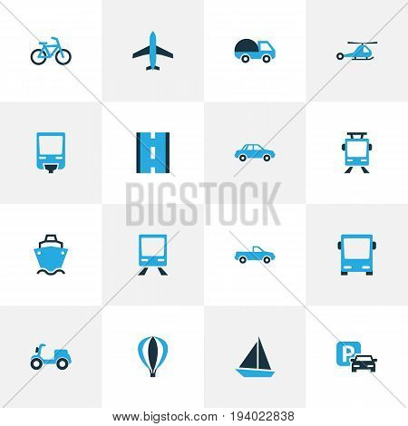 Transportation Colorful Icons Set. Collection Of Monorail, Auto, Caravan And Other Elements. Also Includes Symbols Such As Cabriolet, Carriage, Omnibus.