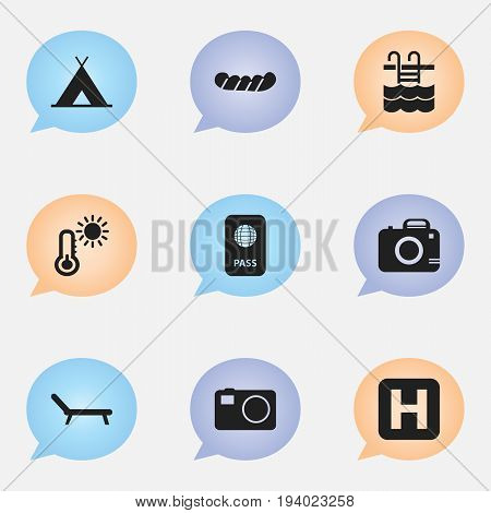 Set Of 9 Editable Travel Icons. Includes Symbols Such As Thermometer, Bratwurst, Citizenship And More. Can Be Used For Web, Mobile, UI And Infographic Design.