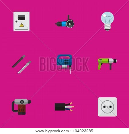 Set Of 9 Editable Instruments Icons. Includes Symbols Such As Wire, Jig Saw, Rosette And More. Can Be Used For Web, Mobile, UI And Infographic Design.