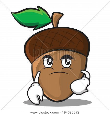 Confused acorn cartoon character style vector illustration