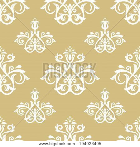 Classic seamless vector golden and white pattern. Traditional orient ornament. Classic vintage background