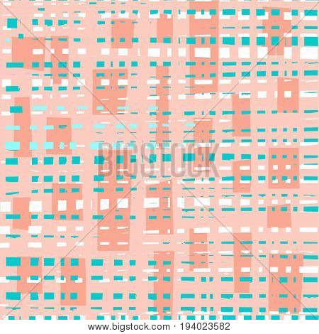 Blue, white squares, pink background, abstract, seamless, vector. White and blue-green uneven dotted lines on a pink background.