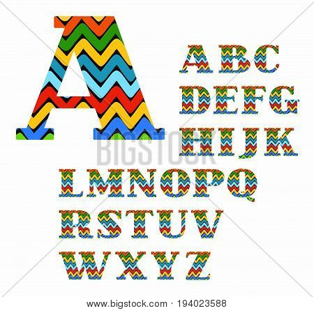 English alphabet, colorful zigzag, vector. Capital letters with serifs. Vector font. The colored, broken lines on a black background.