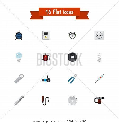 Set Of 16 Editable Electrical Icons. Includes Symbols Such As Receptacle, Connection, Turn-Screw And More. Can Be Used For Web, Mobile, UI And Infographic Design.