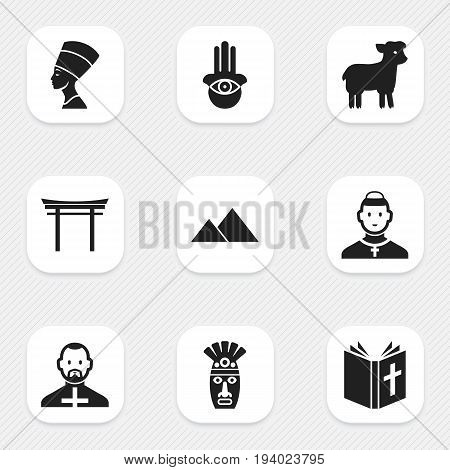 Set Of 9 Editable Religion Icons. Includes Symbols Such As Pope, Cleopatra, Shaman And More. Can Be Used For Web, Mobile, UI And Infographic Design.