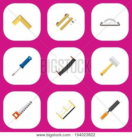 Set Of 9 Editable Apparatus Icons. Includes Symbols Such As Turn-Screw, Tool, Emery Paper And More. Can Be Used For Web, Mobile, UI And Infographic Design.