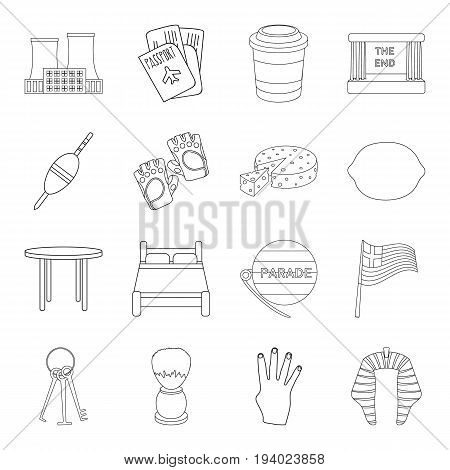 travel, fishing, sport and other  icon in outline style.furniture, food, service icons in set collection.