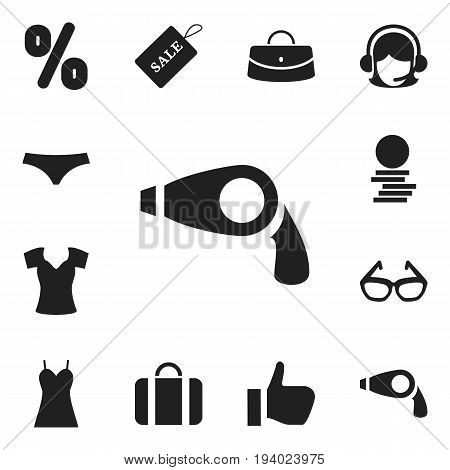 Set Of 12 Editable Trade Icons. Includes Symbols Such As Receptionist, Reticule, Trunks And More. Can Be Used For Web, Mobile, UI And Infographic Design.