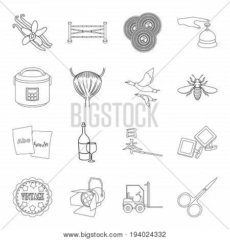 art, alcohol, cooking and other  icon in outline style.transport, travel, medicine icons in set collection.