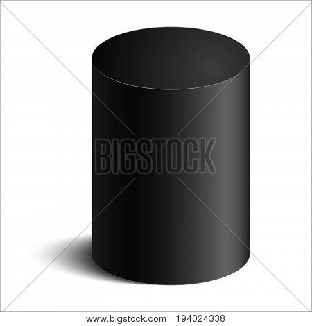 realistic cylinder with shadow on white background vector illustration