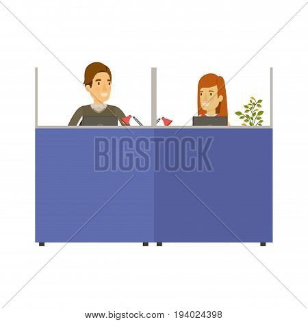 silhouette color cubicles workplace office with man and woman employees vector illustration