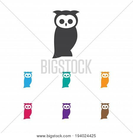 Vector Illustration Of Animal Symbol On Night Fowl Icon. Premium Quality Isolated Owl Element In Trendy Flat Style.