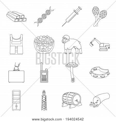 organ, army, finance and other  icon in outline style.cooking, medicine, furniture icons in set collection.