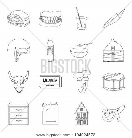 organ, medicine, finance and other  icon in outline style.art, cooking, health icons in set collection.