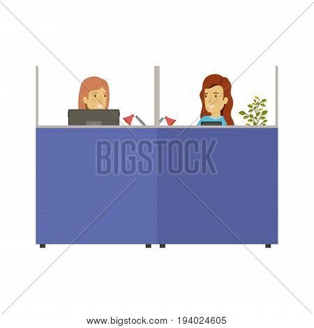 silhouette color cubicles workplace office with female employees vector illustration