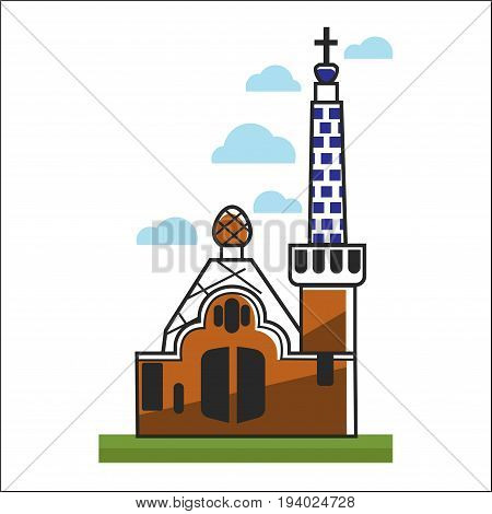 Spain church with big gates, high tower, pattern on walls and cross on top that stands on grass and with clouds above isolated vector illustration on white background. Holy place of attraction.