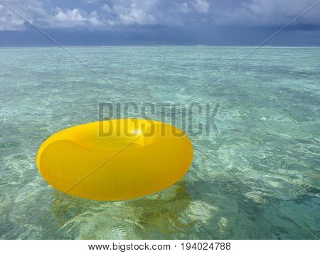 A floaty ring on the waters of the Maldives