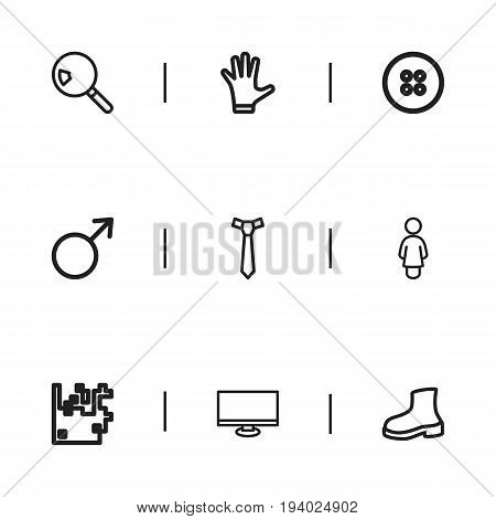 Set Of 9 Editable Trade Icons. Includes Symbols Such As Female Sign, Button, Search And More. Can Be Used For Web, Mobile, UI And Infographic Design.