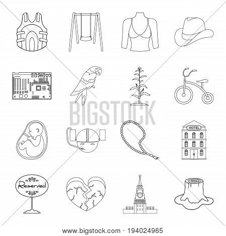 Country, crop, maintenance and other  icon in outline style.Tree, medicine, game icons in set collection.