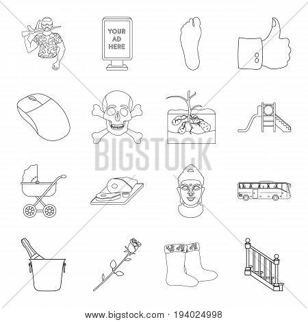 Country, crop, maintenance and other  icon in outline style.Medicine, game, building icons in set collection.