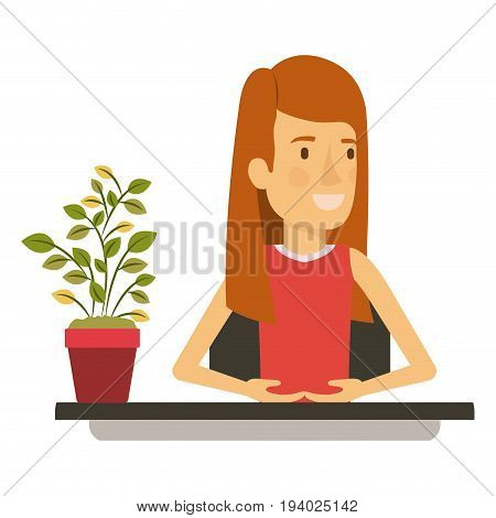 silhouette color closeup half body woman assistant in desk with straight long redhair vector illustration
