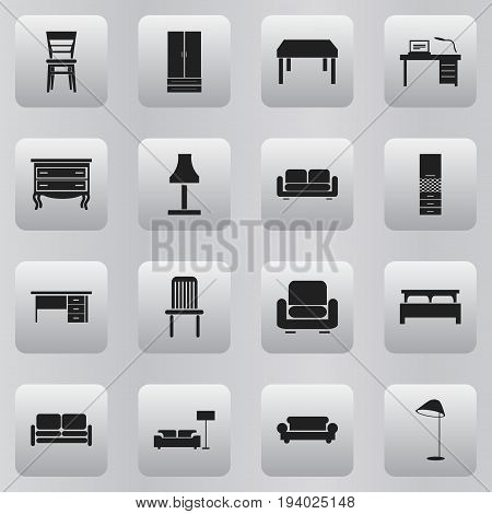 Set Of 16 Editable Furnishings Icons. Includes Symbols Such As Recliner, Stillage, Lamp And More. Can Be Used For Web, Mobile, UI And Infographic Design.
