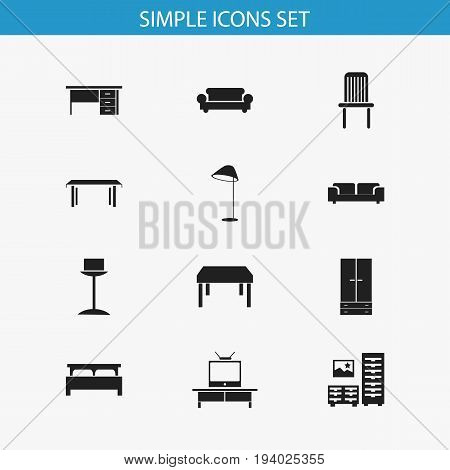 Set Of 12 Editable Furniture Icons. Includes Symbols Such As Stillage, Trestle, Cabinet And More. Can Be Used For Web, Mobile, UI And Infographic Design.