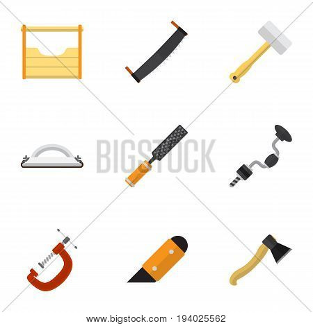 Set Of 9 Editable Equipment Icons. Includes Symbols Such As Boer, Knife, Rasp And More. Can Be Used For Web, Mobile, UI And Infographic Design.