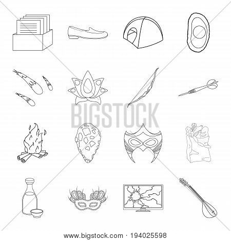 Fitness, space, Brazil and other  icon in outline style.Prehistoric, shopping, music icons in set collection.