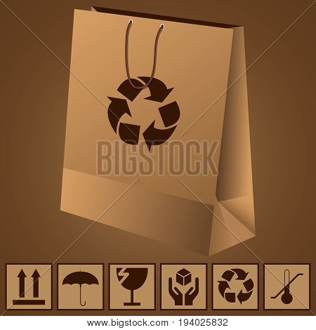 paper shopping bag and icons fragility and recycling vector illustration