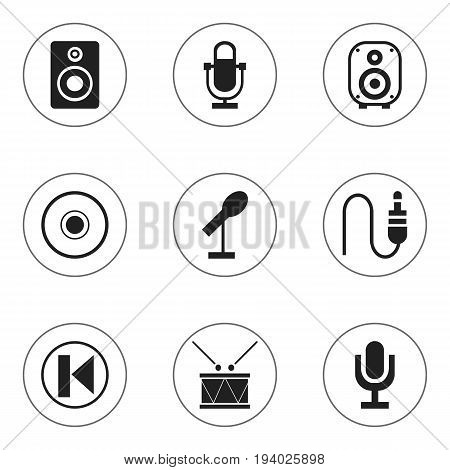 Set Of 9 Editable Melody Icons. Includes Symbols Such As Journalism Equipment, Mike, Cd And More. Can Be Used For Web, Mobile, UI And Infographic Design.