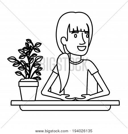 black silhouette closeup half body woman assistant in desk with ponytail hair vector illustration