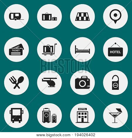 Set Of 16 Editable Trip Icons. Includes Symbols Such As Luggage, Hotel, Caravan And More. Can Be Used For Web, Mobile, UI And Infographic Design.