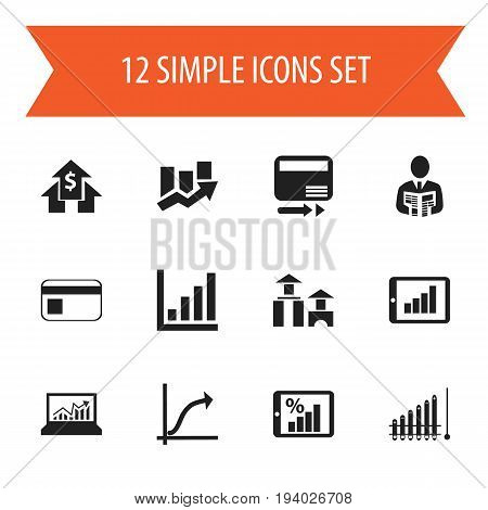 Set Of 12 Editable Analytics Icons. Includes Symbols Such As Pay Redeem, Bank Payment, Upward Direction And More. Can Be Used For Web, Mobile, UI And Infographic Design.