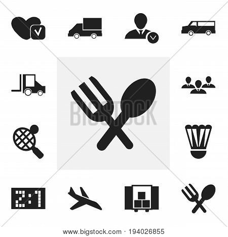 Set Of 12 Editable Complicated Icons. Includes Symbols Such As Badminton Ball, Van, Work Man And More. Can Be Used For Web, Mobile, UI And Infographic Design.