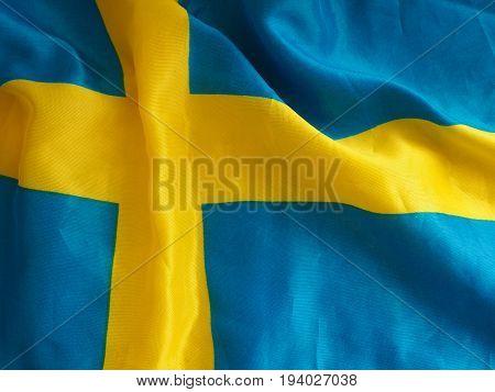 Texture of the Swedish flag close up shot