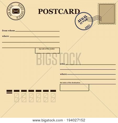 vintage a blank post card white background vector illustration