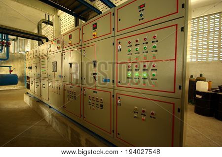 Control panel at the control area in industrial mill