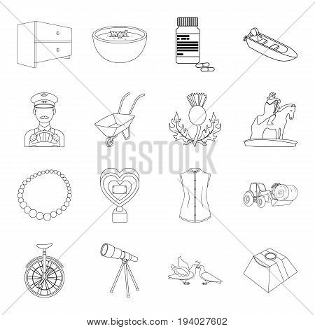 education, medicine, fashion and other  icon in outline style.history, wedding, service icons in set collection.