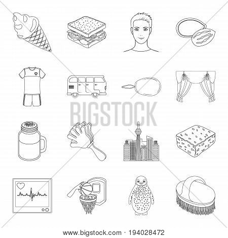 bristle, maintenance, medicine and other  icon in outline style.sport, food, sewing icons in set collection.