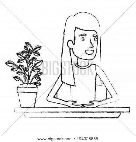 blurred silhouette half body woman assistant in desk with straight long redhair vector illustration