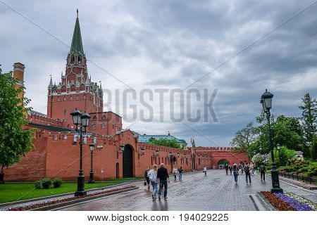 MOSCOW RUSSIA - MAY 27 2017 Beautiful view of Moscow redbrick Kremlin and red square landmarks at the park outside the Kremlin Palace.