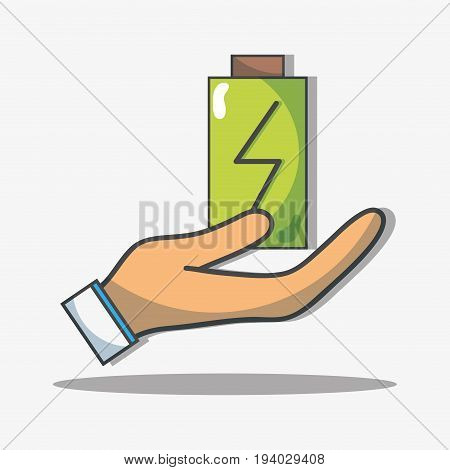 hand with battery to reduce energy and help the ecology vector illustration