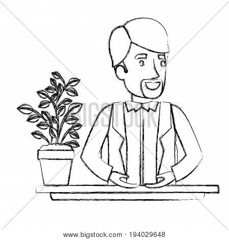 blurred silhouette half body van dyke beard man assistant in desk in jacket vector illustration