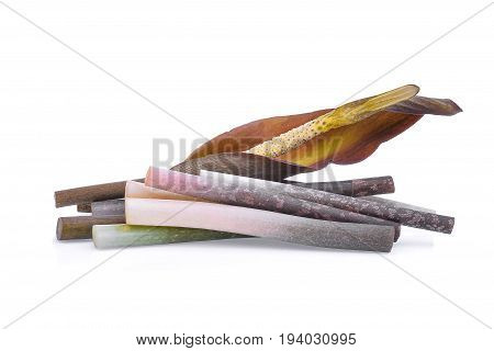 amorphophallus paeoniifolius (dennst.) nicolson.elephant yam stanley s water-tub konjac isolated on white background